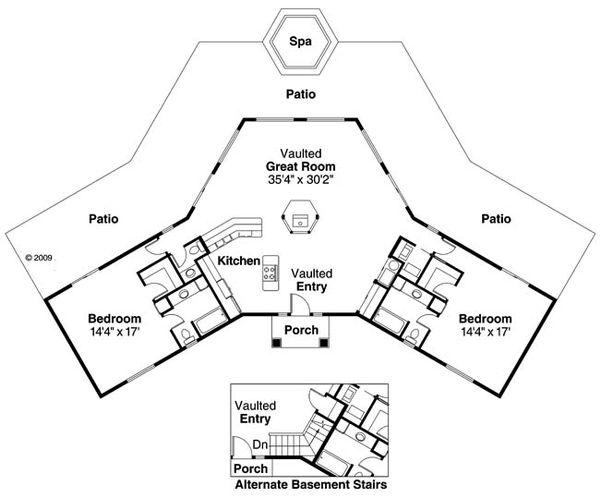 Mediterranean Floor Plan - Main Floor Plan Plan #124-430