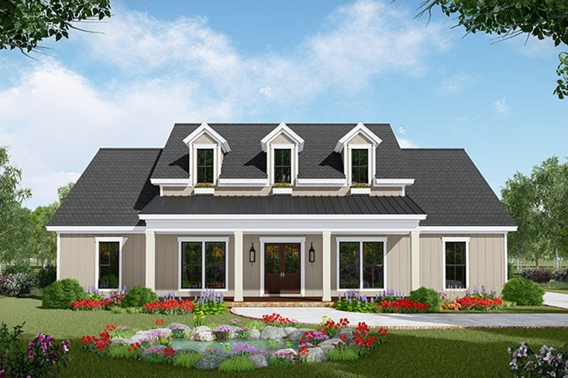 Architectural House Design - Country Exterior - Front Elevation Plan #21-445