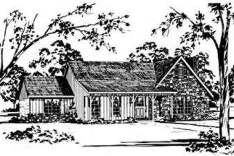 Country Style House Plan - 3 Beds 2 Baths 2011 Sq/Ft Plan #36-420 Exterior - Front Elevation