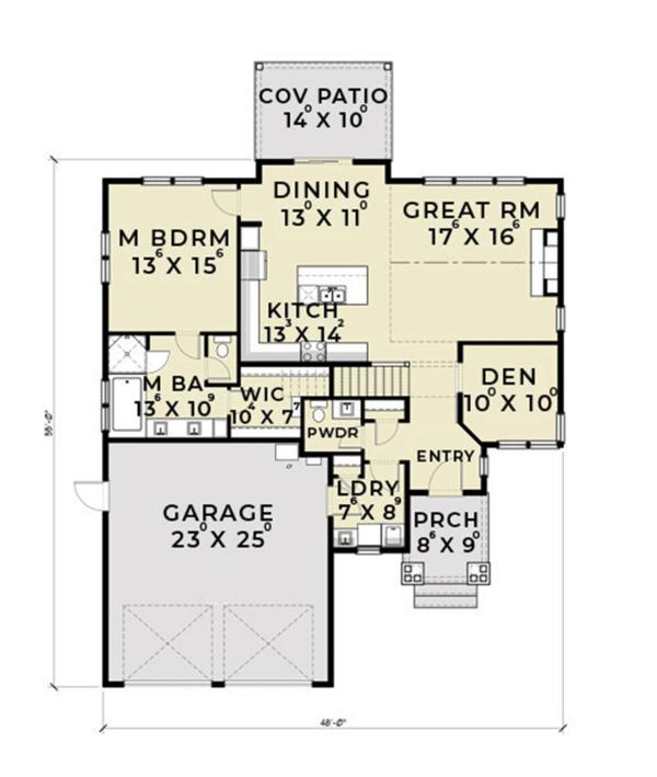 Ranch Floor Plan - Main Floor Plan #1070-28