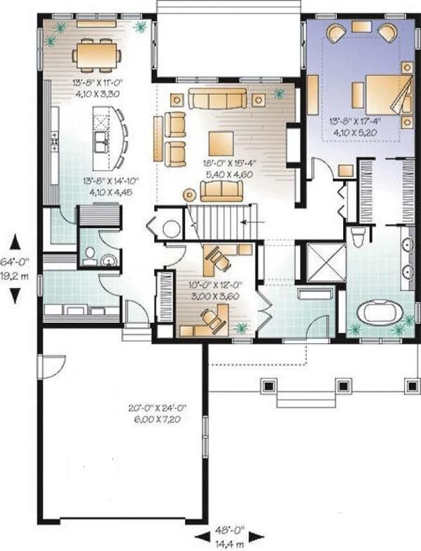 House Design - Traditional Floor Plan - Main Floor Plan #23-2548