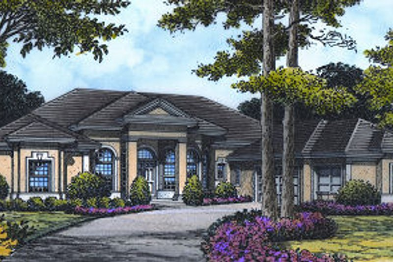 European Style House Plan - 3 Beds 4.5 Baths 3220 Sq/Ft Plan #417-372 Exterior - Front Elevation