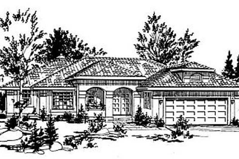 House Blueprint - European Exterior - Front Elevation Plan #18-147