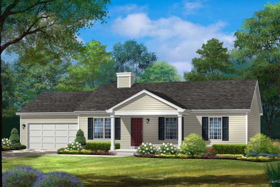 Ranch Exterior - Front Elevation Plan #22-621