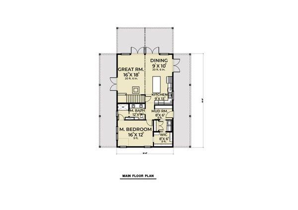 Cabin Floor Plan - Main Floor Plan Plan #1070-100