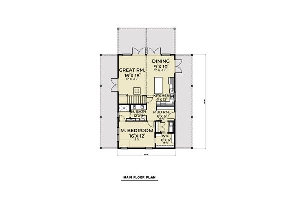 Dream House Plan - Cabin Floor Plan - Main Floor Plan #1070-100