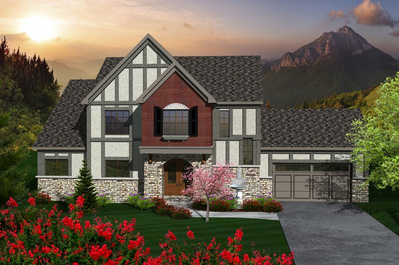 Dream House Plan - Tudor Exterior - Front Elevation Plan #70-1139