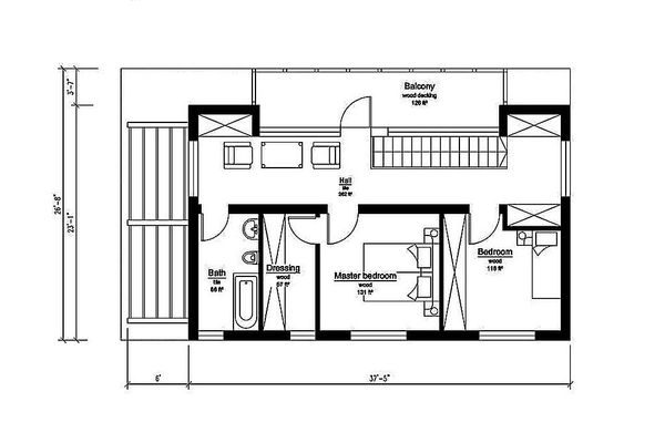 Modern Floor Plan - Upper Floor Plan Plan #549-2
