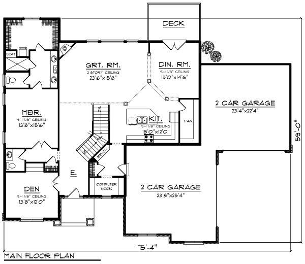 Craftsman Floor Plan - Main Floor Plan Plan #70-1289