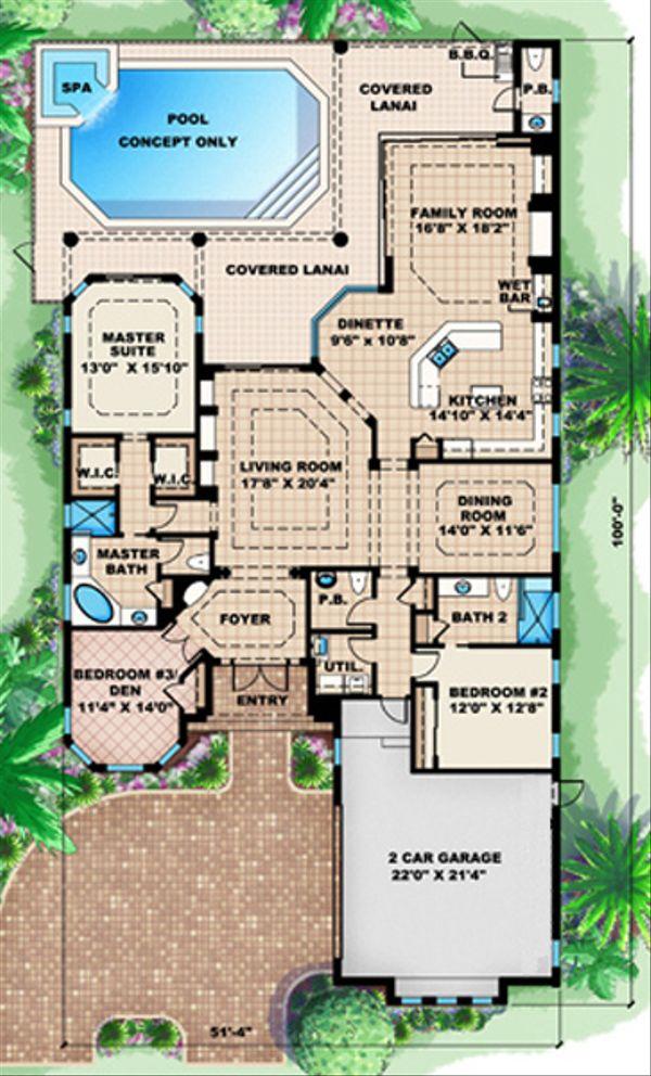 European Floor Plan - Main Floor Plan Plan #27-417