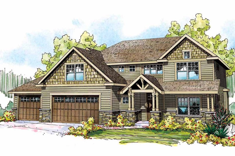 Craftsman Style House Plan - 4 Beds 3 Baths 2838 Sq/Ft Plan #124-828 Exterior - Front Elevation