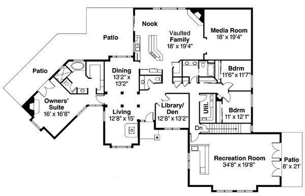 European Floor Plan - Main Floor Plan Plan #124-832