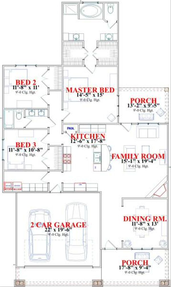 Bungalow Floor Plan - Main Floor Plan Plan #63-138