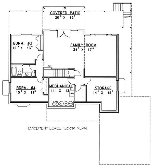Ranch Floor Plan - Lower Floor Plan Plan #117-575