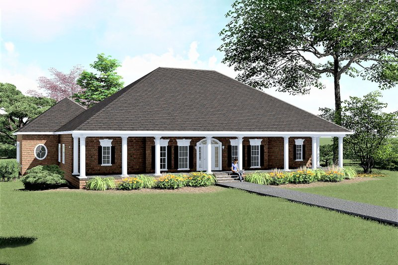 Southern Exterior - Front Elevation Plan #44-128 - Houseplans.com