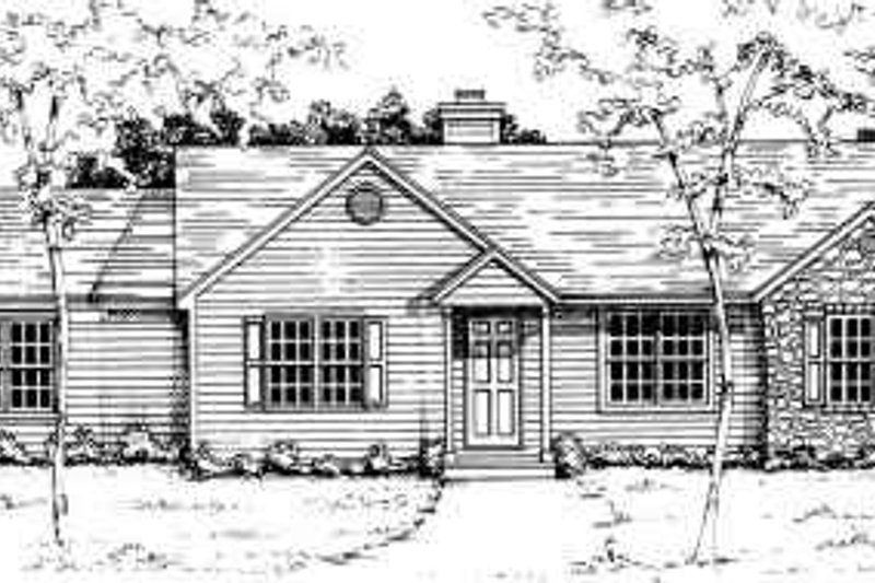 Ranch Style House Plan - 3 Beds 2 Baths 1224 Sq/Ft Plan #30-121 Exterior - Front Elevation