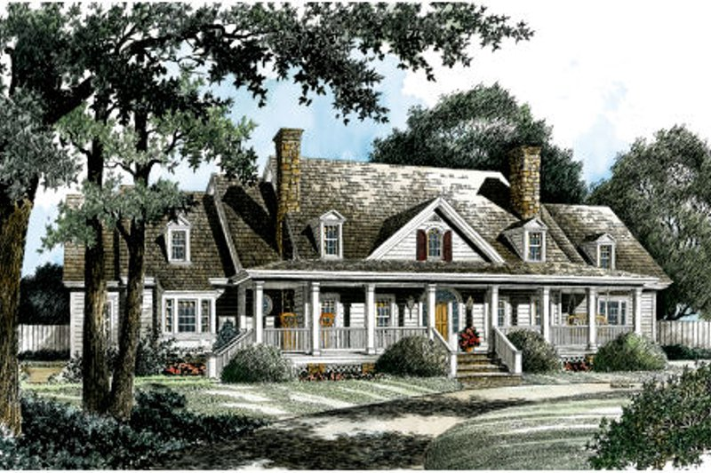 Country Style House Plan - 4 Beds 3.5 Baths 3940 Sq/Ft Plan #429-32 Exterior - Front Elevation