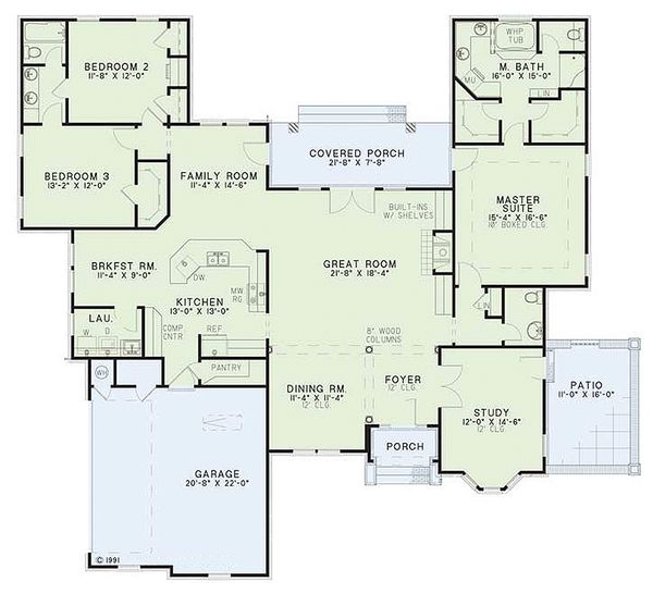 European Floor Plan - Main Floor Plan Plan #17-124