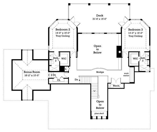Country Floor Plan - Upper Floor Plan Plan #930-10