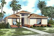 Mediterranean Style House Plan - 3 Beds 2 Baths 1720 Sq/Ft Plan #420-112 Exterior - Front Elevation