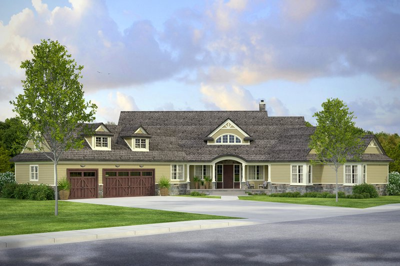 Country Style House Plan - 3 Beds 3.5 Baths 4211 Sq/Ft Plan #124-1010 Exterior - Front Elevation