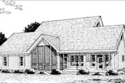 Country Style House Plan - 4 Beds 3 Baths 1980 Sq/Ft Plan #20-2036 Exterior - Rear Elevation
