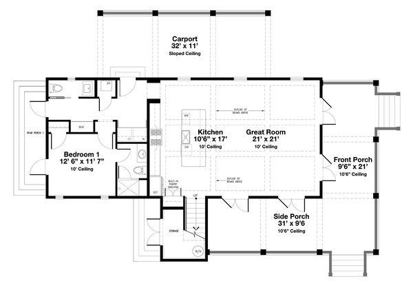 Beach Floor Plan - Main Floor Plan #443-16
