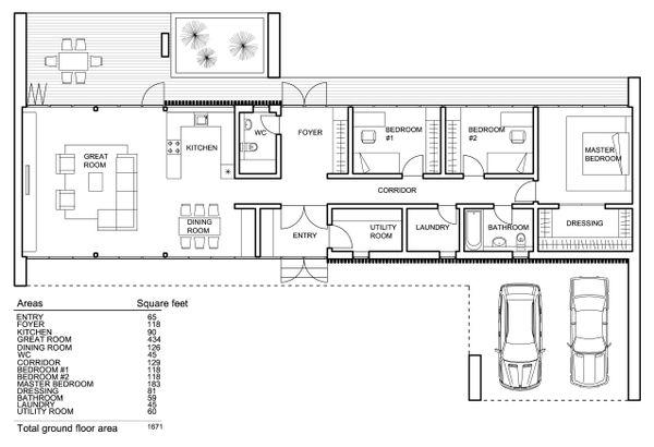 Modern house plan, floor plan