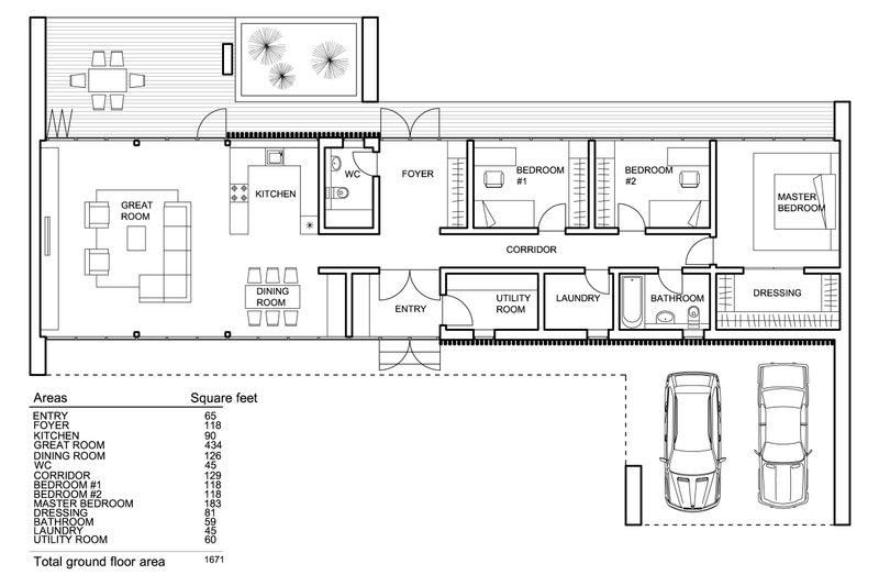 Modern house plan, floor plan