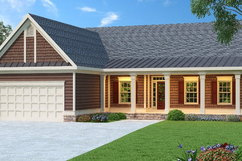 Ranch Exterior - Front Elevation Plan #419-101 - Houseplans.com