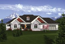 Ranch Exterior - Front Elevation Plan #70-1086