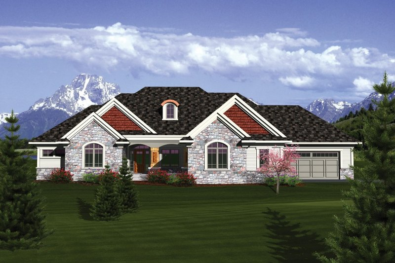 Ranch Exterior - Front Elevation Plan #70-1086 - Houseplans.com