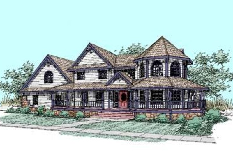 Dream House Plan - Farmhouse Exterior - Front Elevation Plan #60-286