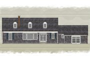 Colonial Style House Plan - 4 Beds 3 Baths 2892 Sq/Ft Plan #489-9 Exterior - Rear Elevation