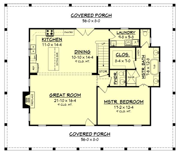 Country Floor Plan - Main Floor Plan Plan #430-150