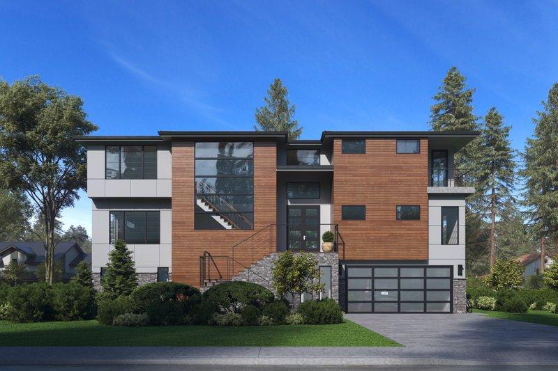 House Blueprint - Modern Exterior - Front Elevation Plan #1066-84