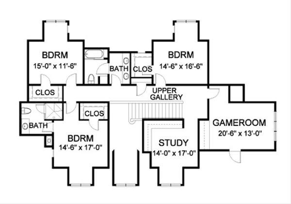 Traditional Floor Plan - Upper Floor Plan Plan #490-16
