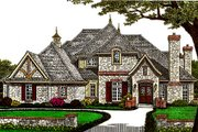 European Style House Plan - 5 Beds 5.5 Baths 4263 Sq/Ft Plan #310-671 Exterior - Front Elevation