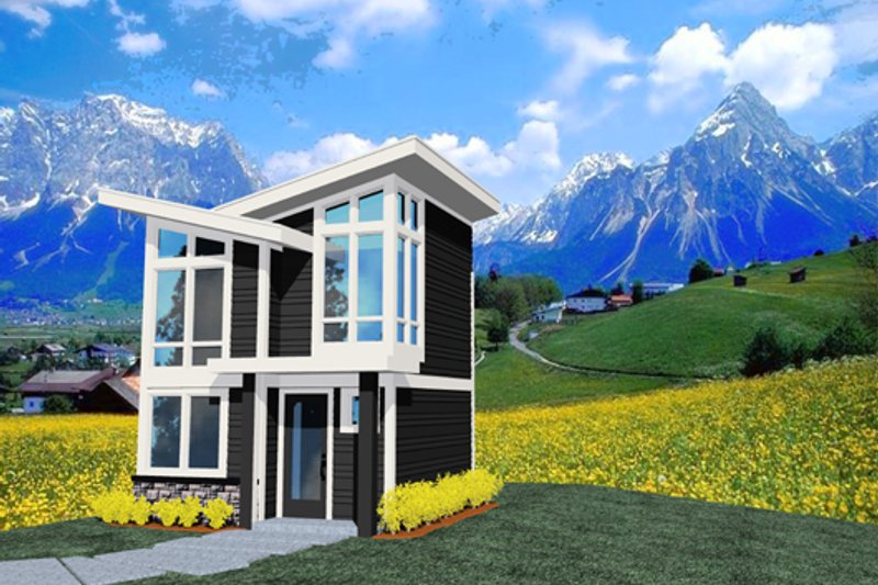 Modern Style House Plan - 1 Beds 1.5 Baths 502 Sq/Ft Plan #509-37 Exterior - Front Elevation