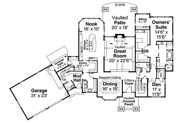 House Plan Design - Craftsman Floor Plan - Main Floor Plan #124-1032