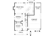 Main level floor plan - 1950 square foot Craftsman home