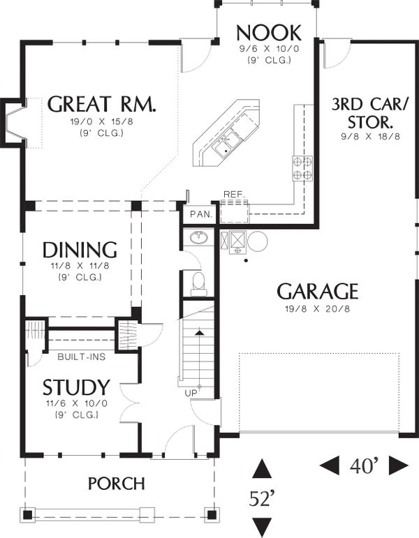Main level floor plan - 1950 square foot Craftsman home