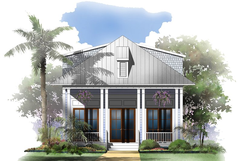 Beach Exterior - Front Elevation Plan #430-124