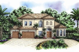 Mediterranean Exterior - Front Elevation Plan #27-425