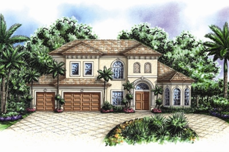 Mediterranean Style House Plan - 4 Beds 4.5 Baths 4218 Sq/Ft Plan #27-425 Exterior - Front Elevation