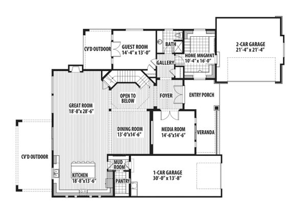 Craftsman Floor Plan - Main Floor Plan Plan #569-41
