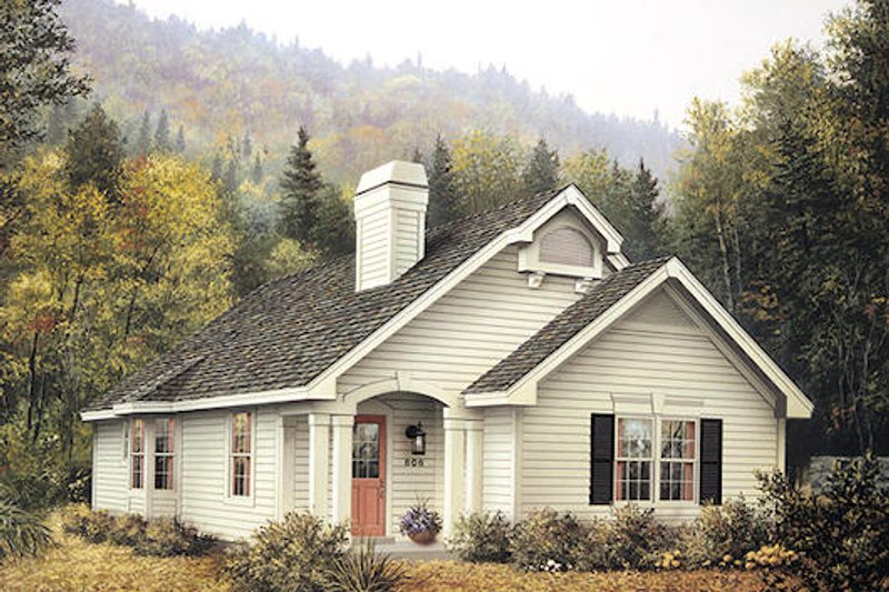 Farmhouse Style House Plan - 4 Beds 2 Baths 1452 Sq/Ft Plan #57-308 Exterior - Front Elevation