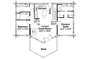 Log Style House Plan - 2 Beds 2.5 Baths 1568 Sq/Ft Plan #124-951 Floor Plan - Main Floor
