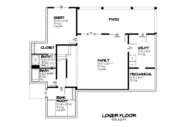 Cottage style house plan, bungalow style, lower level floorplan