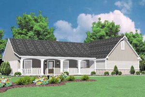 Architectural House Design - Ranch Exterior - Front Elevation Plan #36-115